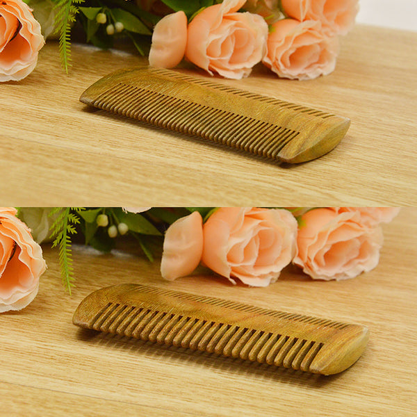 Becoyou 100% Natural Green Sandalwood Wooden Beard Comb for Various Types Mustaches Grooming Styles