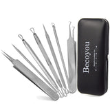 Becoyou 7Pcs Stainless Steel Blackhead Whitehead Acne Pimples Extractor Remover Kit