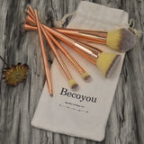 Becoyou 5Pcs Makeup Brush Set for Powder Foundation Lip Blush Concealer Blending Eyeshadow  Rose-gold