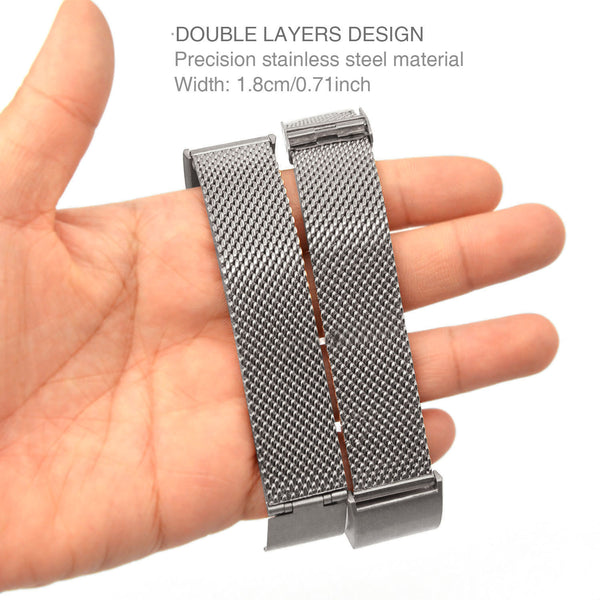 Satkago Stainless Steel Stable Clasp Widening Replacement Watchband for Fitbit Charge 2 Silver
