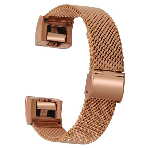 Satkago Stainless Steel Stable Clasp Widening Replacement Watchband for Fitbit Charge 2 Rose-gold