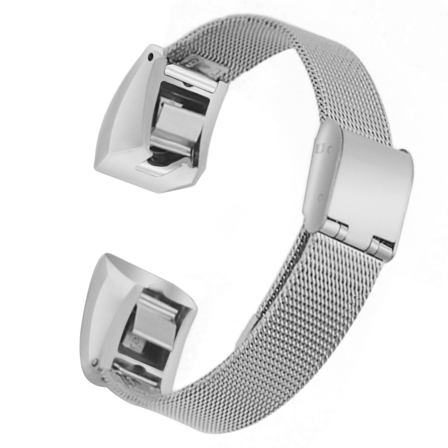 Satkago Stainless Steel Slim Sports Band Replacement Watchband for Fitbit Alta HR and Alta Silver