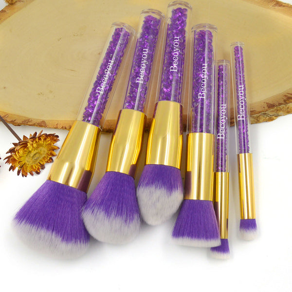 Becoyou Professional 6 Pcs Makeup Brush Set Face Cosmetic Brushes Kit, Purple Rhinestone