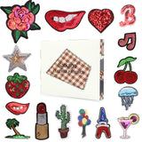 Satkago 16Pcs Cartoon DIY Clothes Patches Stickers Sequins Iron on or Sew-on Patches
