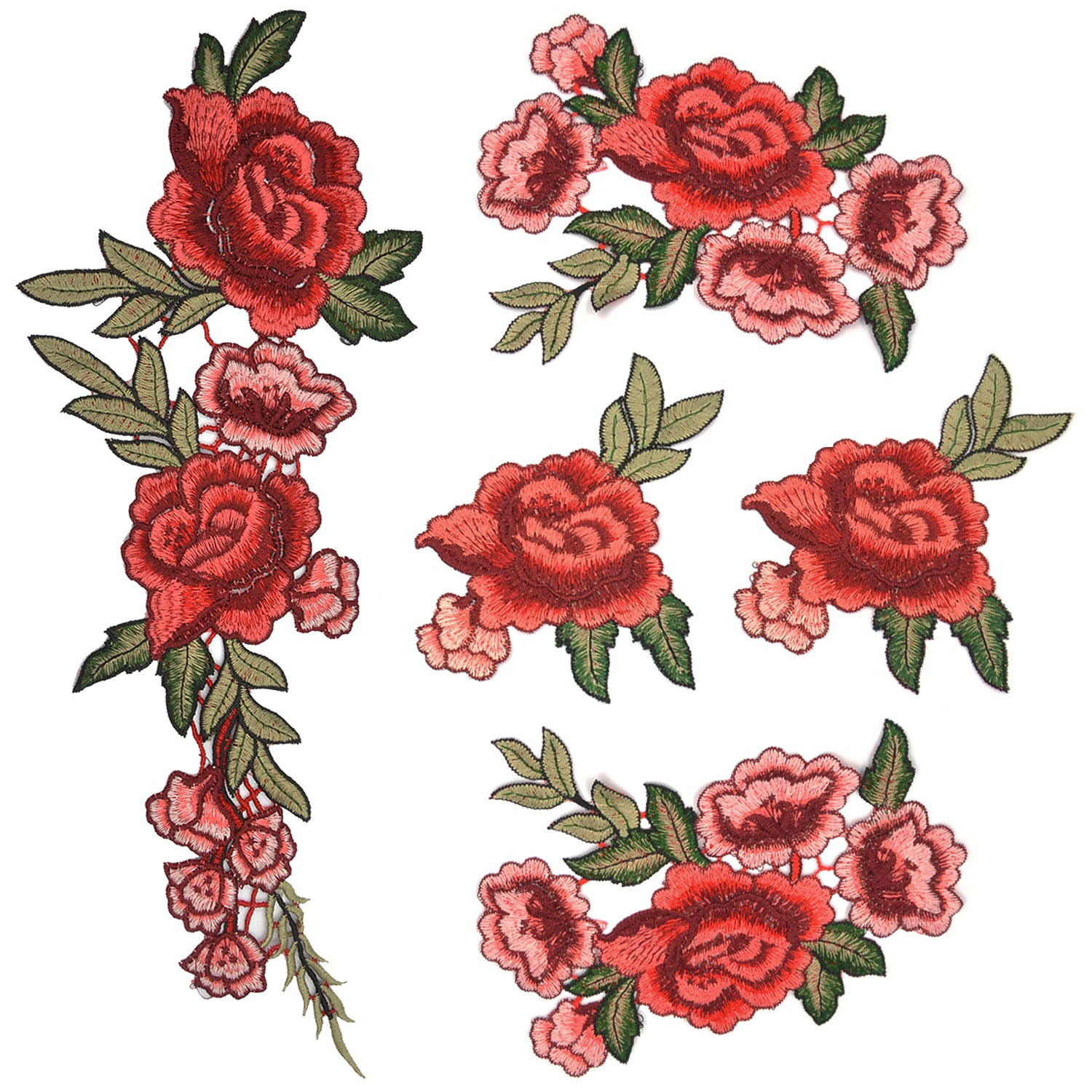 Satkago 5Pcs Flowers Pattern Embroidered Sew on DIY Clothes Patches
