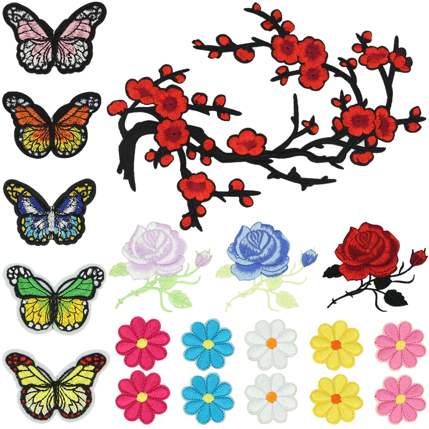 Satkago 19 PCS Flower Butterfly Patch Embroidery Iron-on Clothes Patches for T-shirt Jeans