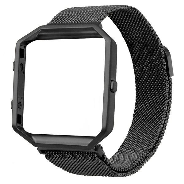 Satkago Milanese Loop Magnetic Replacement Strap Band w/ Frame Housing for Fitbit Blaze Black