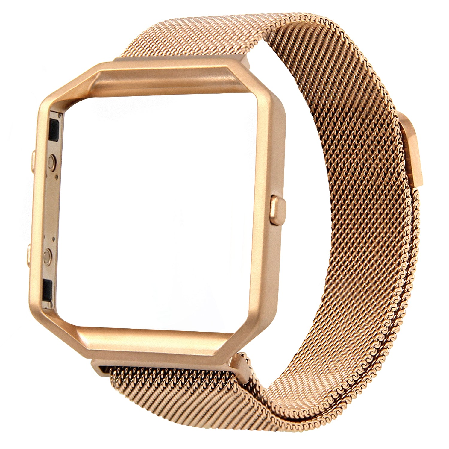 Satkago Milanese Loop Magnetic Replacement Strap Band w/ Frame Housing for Fitbit Blaze Rose Golden