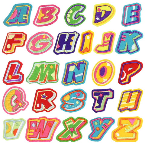 Satkago 26 PCS Cloth Alphabet Letter DIY Sew-on Iron-on Clothes Patches