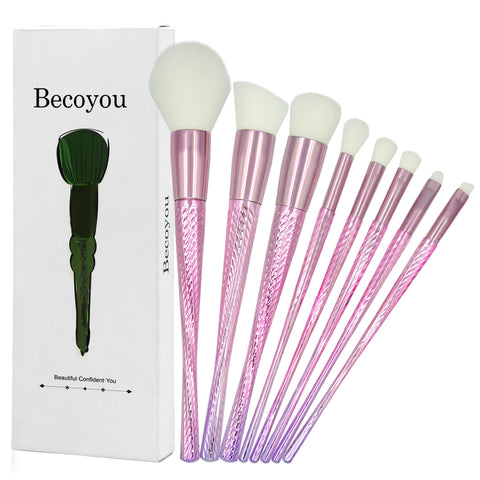 Becoyou 8 Pcs Professional Makeup Brush Set  for Powder Foundation Eyebrow Blush Concealer