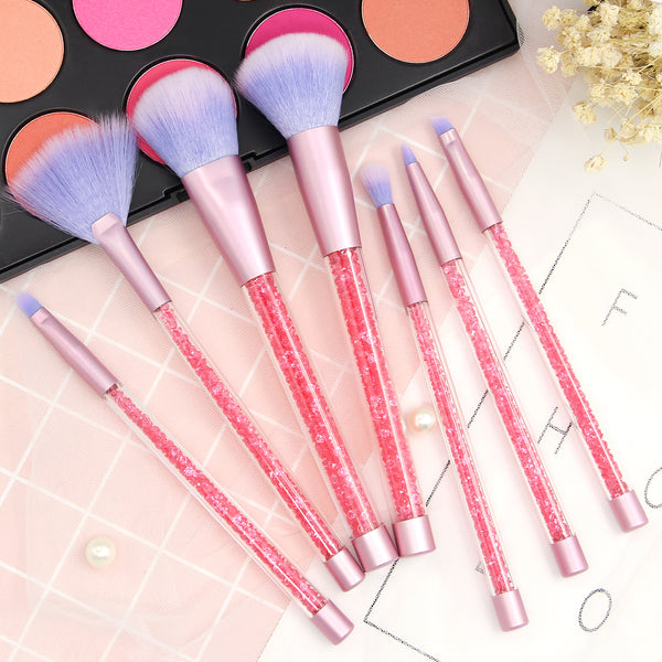 Becoyou 7 Pcs Professional Glitter Makeup Brush Set for Powder Foundation Eyebrow Blush Concealer
