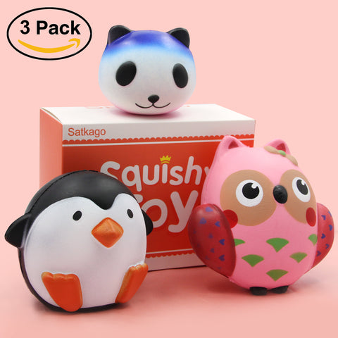 Satkago 3PCS Cartoon Panda Owl Penguin Soft Squishy Squeeze Slow Rising Toy