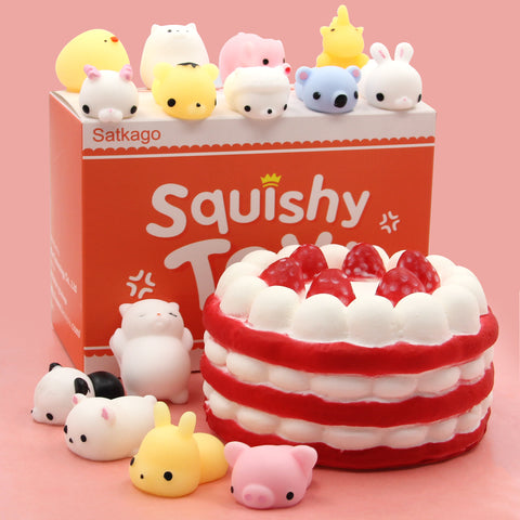 Satkago 14PCS Cute Kawaii Soft Squishy Squeeze Cartoon Animal Toy + 1PCS Slow Rising Cake