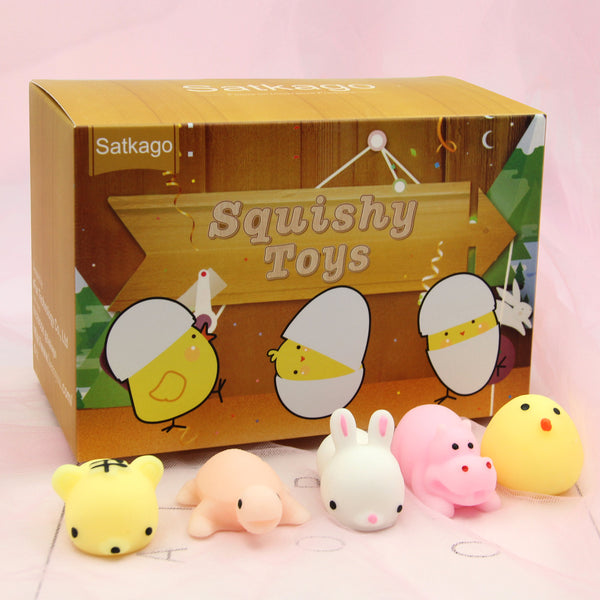 Satkago 18 PCS Soft Squishy Squeeze Toys + 6 PCS Plastic Easter Eggs