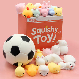 Satkago 22 PCS Cute Squeeze Cartoon Toys + 1 PCS Squishy Football Toy