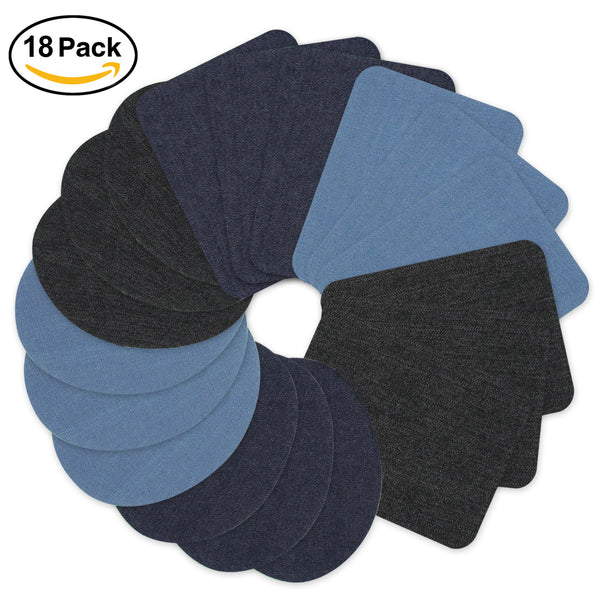 Satkago 18 PCS Rectangle 3 Colors Iron On Denim DIY Clothes Patches