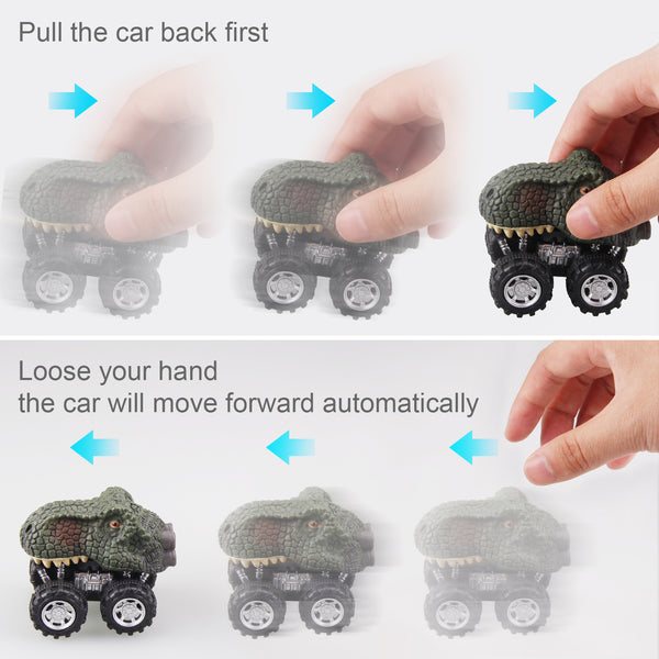 Satkago 4 pack Pull Back Dinosaur Cars, Dino Car Toy for 3 Years Old Boys Girl Kids Novelty Gifts