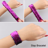 Satkago 12 Pcs Reversible Sequin Slap Bracelets for Party Favors, Classroom Prizes