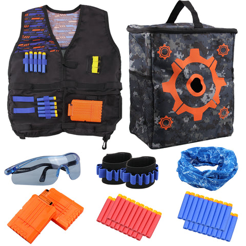 Satkago Kids Tactical Vest Kits Shooting Tool Toys Set for Nerf Gun Mask Vest Refill Darts