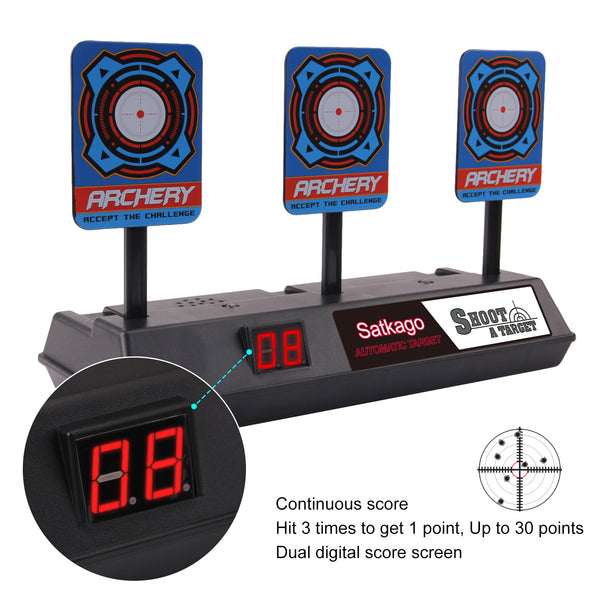 Satkago Electric Automatic Scoring Target Toy Compatible with Nerf N-Strike Elite Mega Rival Series