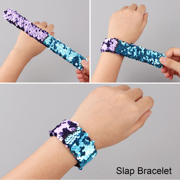 Satkago 36 Pcs Dual-Color Sequin Reversible Slap Bracelets Wristband for Kids Party Favors