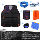 Satkago Tactical Vest Face Mask Glasses Dart Pouch Quick Reload Clips WristBands Soft Darts for Nerf