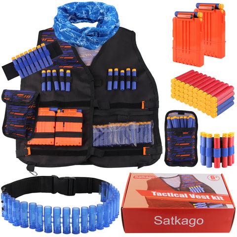 Satkago Tactical Kit Belt Dart Storage Bag Mask Glasses Wristbands Reload Clip for Nerf