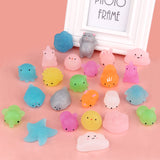 24pcs Satkago Squishys Toys Shining Powder Mochi Kawaii Squeeze Cartoon Animal Toy