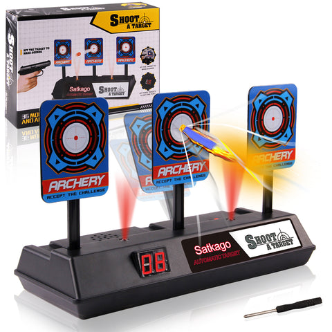 Satkago Auto-Reset Electronic Shooting Scoring Target Toy for Nerf Soft Bullets Shooting Games