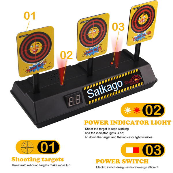 Satkago Funny Expression Design Electric Automatic Scoring Target Toy Compatible with Nerf