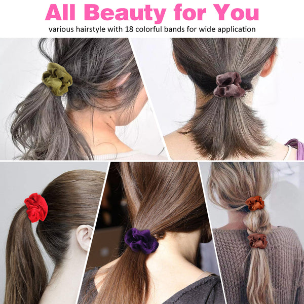 Becoyou 24 Color Velvet Hair Scrunchies