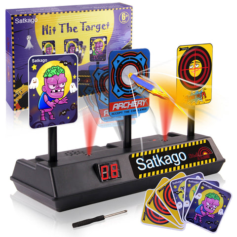 Satkago 2in1 Electric Automatic Scoring Target Toy Funny Expression and Zombie Sticker Card Set