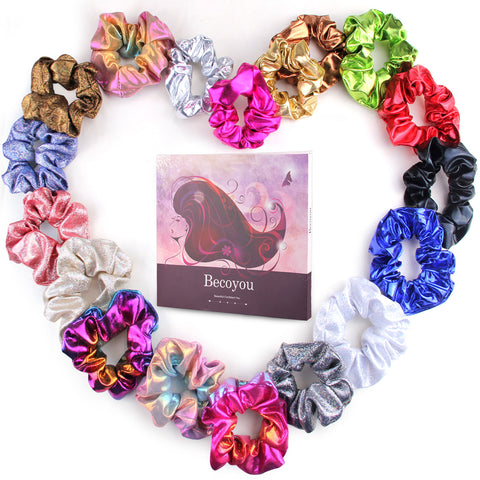 Becoyou 18pcs Hair Scrunchies, Hair Bobble Hairbands Ponytail Holder Hair Ties