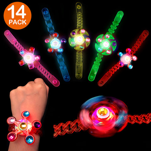 Satkago 12Pack Upgrade Light up Bracelet Toys Wristband with Highlight Spinning Top Fidget