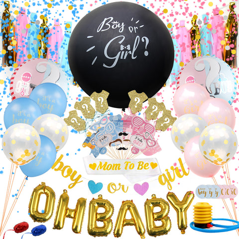 Satkago Gender Reveal Balloons Set, Boy Girl Pastel Baby Announcement Shower Party Kit A+