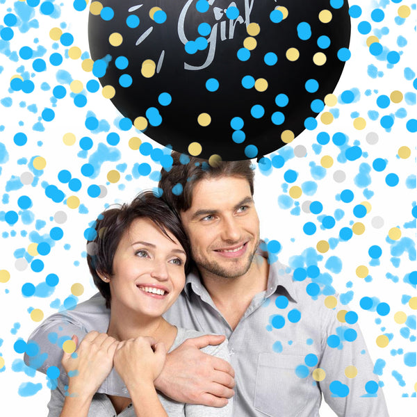 Satkago Gender Reveal  Baby Announcement Shower  Party Kit 2pcs 36 Inch Opaque Black Balloons