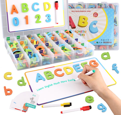 Satkago 225pcs Magnetic Foam Alphabet Letters and Numbers Symbols with Magnet Board  Educational Toy