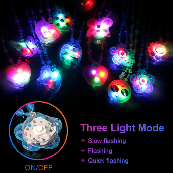 14PCS Satkago LED Light Up Necklaces, Girls Boys Christmas Birthday New Year Eve Party Favors