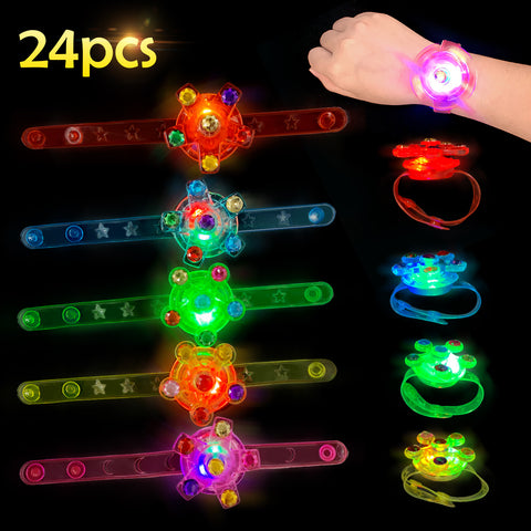 Satkago 24 Pack Upgrade Light up Bracelet Toys Wristband Kids Party Favors