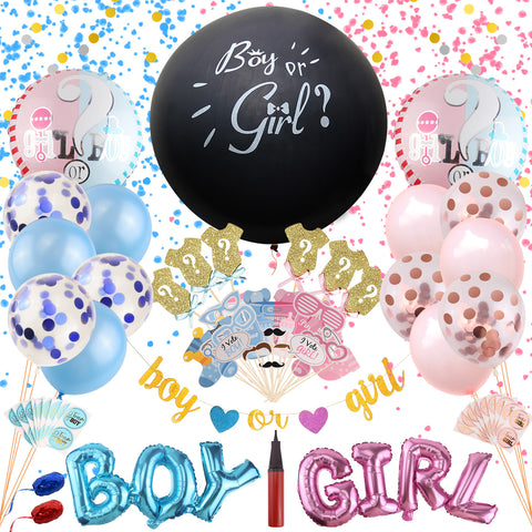 Satkago 115PCS  Gender Reveal Balloons Set,2pcs Opaque Black Balloons Blue Rose Gold Confetti Neutral Boy Girl Pastel for Baby Announcement Shower Party