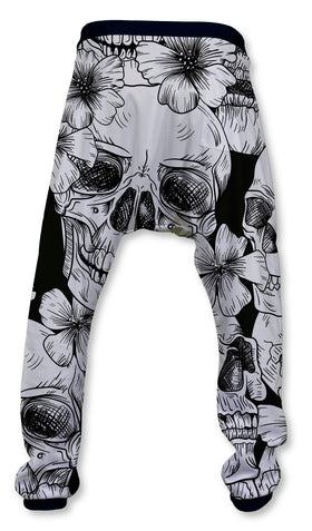 Pantalón Baggy Unisex Fishikii Skull Black and White | PANH-BAG.56
