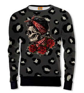 Sudadera Fishikii Pin Up Floral Skull Unisex |OUTLET- SUD.357