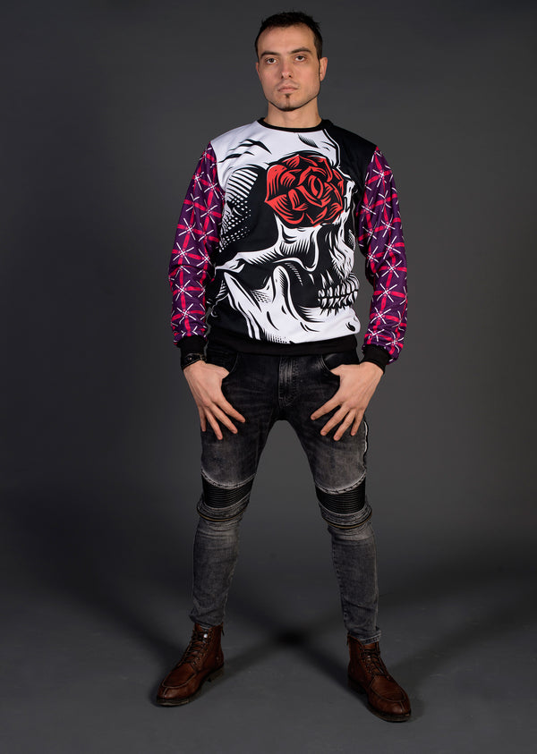 Sudadera Fishikii Skull with Red Rose Unisex | SUD.360