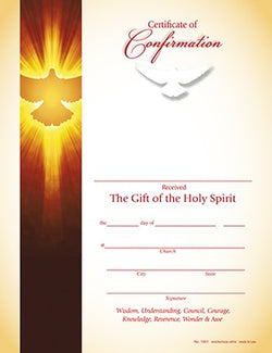 Hermitage Art - All Of Them Were Filled With The Holy Spirit - Confirmation Certificate