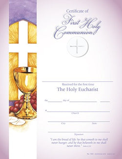 Hermitage Art - I Am The Bread Of Life - First Holy Communion Certificate