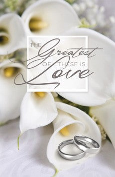 The Greatest of These is Love - Wedding Bulletin