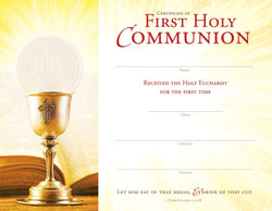 Hermitage Art - Let Him Eat Of That Bread & Drink Of That Cup - First Holy Communion Certificate