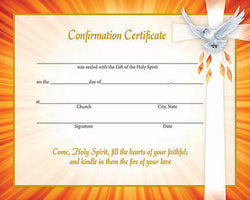 Confirmation Certificate - orange border with Holy Spirit