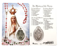 The Mystries of The Rosary Prayer Card and Medal