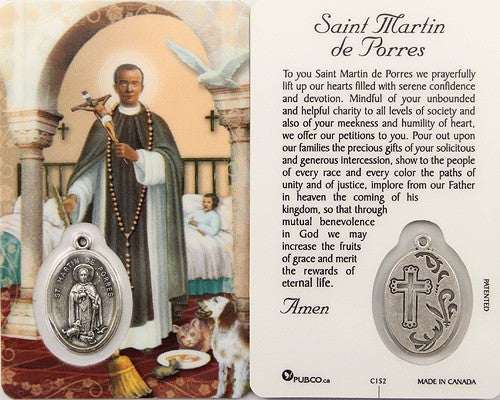 Saint Martin De Porres Prayer Card and Medal